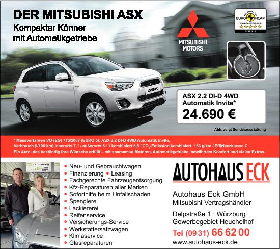 Kundenbanner Auto Eck GmbH Mitsubishi-Vertragshändler