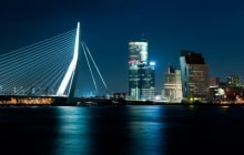 The illuminated Skyline of Rotterdam, Netherlands at night © Corepics VOF