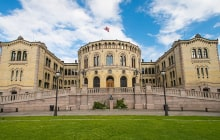 The Storting is the supreme legislature of Norway, located in Oslo. Parliament was established by the Constitution of Norway in 1814 and is designed by Emil Victor Langlet. © Nanisimova