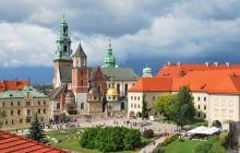 Krakow, Poland. Wawel Cathedral on the background of the stormy sky © Estea