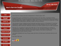 Nick's Service Centre website screenshot