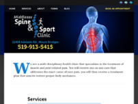 Middlesex Spine and Sport Clinic website screenshot