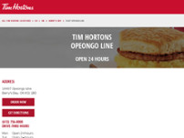 Tim Hortons website screenshot