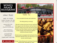 Wong's Palace Tavern Restaurant website screenshot