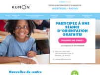 Centre de maths et d'anglais Kumon website screenshot