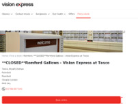 Vision Express Opticians at Tesco - Romford Gallows website screenshot