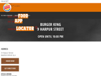 Burger King website screenshot