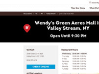 Wendy's website screenshot