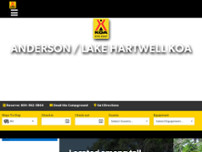 Anderson / Lake Hartwell KOA Holiday website screenshot