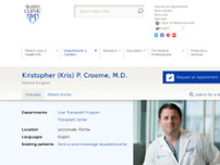 Kris Croome, MD website screenshot